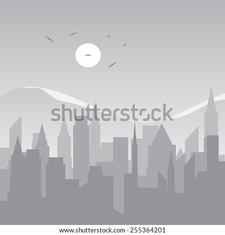 The city and mountains with the snow shades of gray color - stock vector