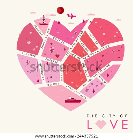 The City of Love Background, Vector illustration - stock vector