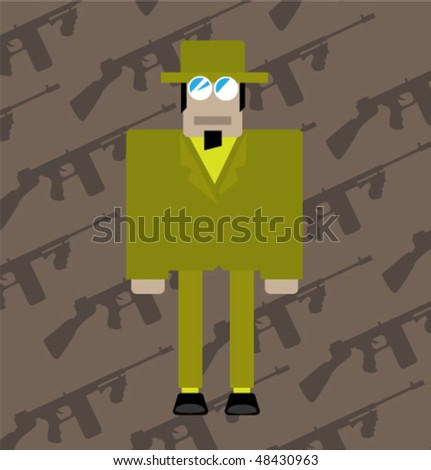 The classical gangster against gun machines - stock vector