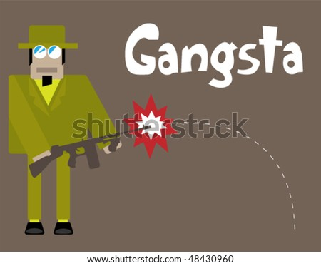 The classical gangster shoots from gun machine - stock vector