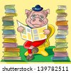 The clever pig wearing spectacles sits at a armchair between two tower from books and reads the newspaper - stock vector