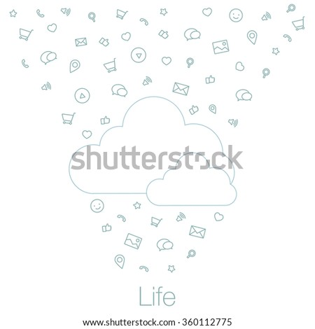 The cloud and icons in flat style. Cloud technologies and services in smartphone, tablet, desktop. Tools and programs on mobile devices. Illustration of cloud software in the mobile.