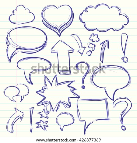 The cloud of thoughts conversation in the comics, exclamation and question marks. Collection sketch drawing. Vector illustration