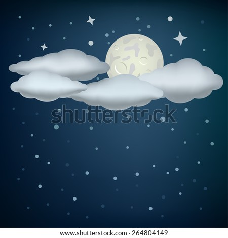 The clouds, moon and night stars sky background - stock vector