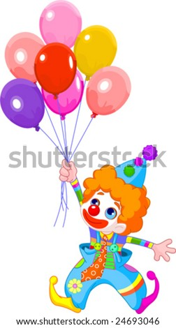 The clown fly with balloons. Vector illustration - stock vector