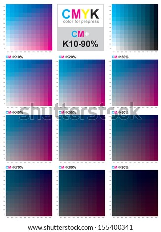 The CMYK color model is a subtractive color model, used in color printing, and is also used to describe the printing process itself. CMYK refers to the 4 inks used: cyan, magenta, yellow and black - stock vector