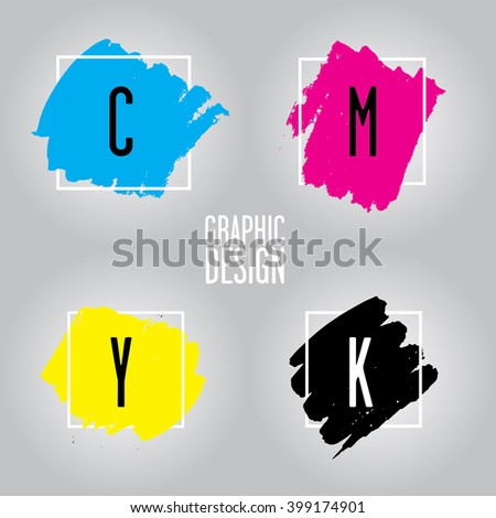 The CMYK color model refers to the four inks used in some color printing: cyan, magenta, yellow, and key (black). This color model is often used in graphic design. - stock vector