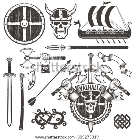 The coat of arms of the Vikings. Coat of Valhalla. The emblem with skull Viking in a horned helmet, ax, sword and shield. Set Viking items. Drakkar. The hand with an ax. - stock vector