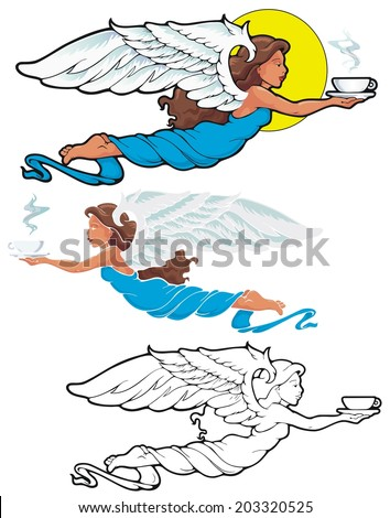 The Coffee Angel, bringing the blessing of morning coffee - stock vector