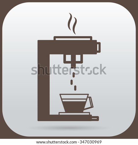 The coffee maker is dripping down the cup of coffee - stock vector
