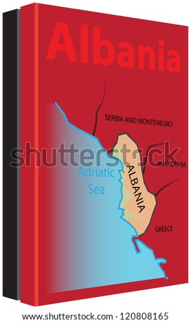 The collection of books on Albania with a map on the cover and in the colors of the national flag. Vector illustration.
