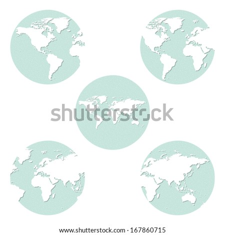 The collection of different sandpaper earth globes. - stock vector