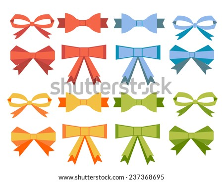 The collection of flat bow ribbons banners for your business - stock vector