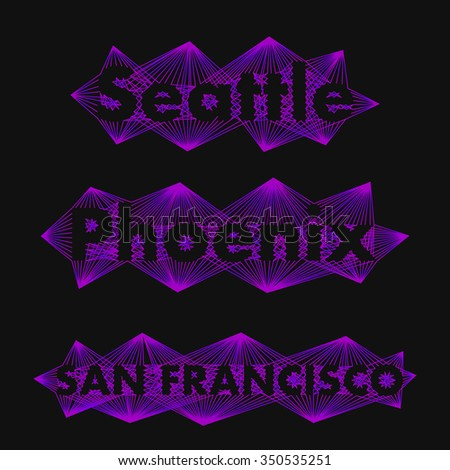 The collection of names big cities in a unique style. The name of the cities in the world for banners, posters, websites and illustrations. The name of the city in - Seattle, Phoenix, San Francisco  - stock vector