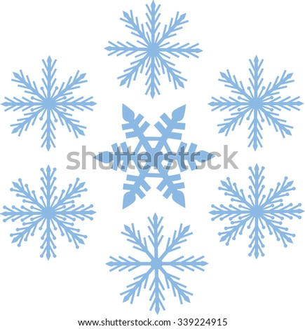 the color blue, winter, snow seven snowflakes vector