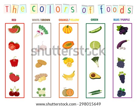 The colors of foods set, fruits and vegetables, illustration, vector - stock vector