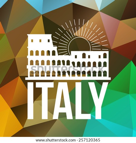 The Colosseum label or logo over geometric background. Italy symbol for your design. Vector illustration. - stock vector