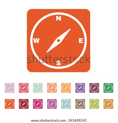 The compass icon. Compass symbol. Flat Vector illustration. Button Set - stock vector