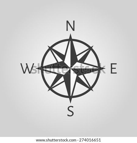 The compass icon. Navigation symbol. Flat Vector illustration - stock vector