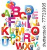 The complete childrens english alphabet spelt out with different fun cartoon animals and toys - stock