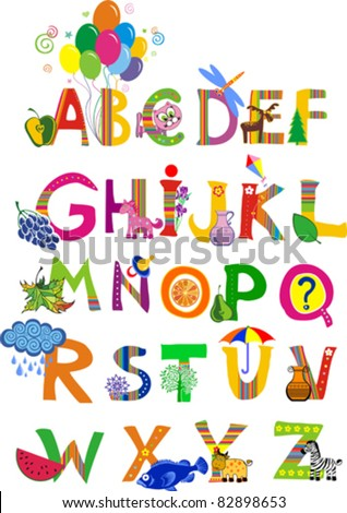 The complete childrens english alphabet spelt out with different fun cartoon animals and toys. ABC.  Alphabet design in a colorful style.