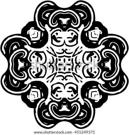 The complex circular ornament with quadrilateral symmetry. Abstract vector illustration in black and white colors