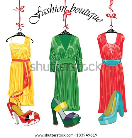 Cocktail dress and shoes hanging