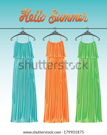 The composition of the three female's evening party dresses of silk hanging on the hanger.Fashion boutique.Spring is coming.Vector illustration.