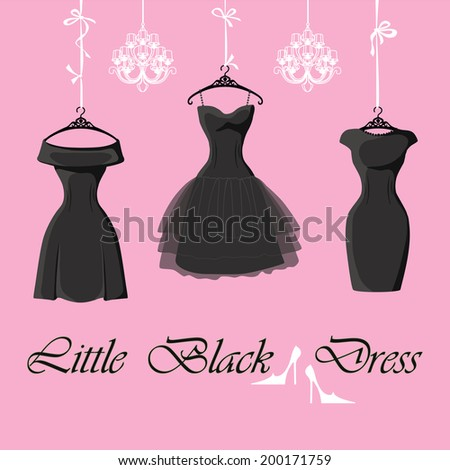 The composition of the three female's little black dresses hang on ribbons.Composition with chandeliers,saying, high heel shoes on a pink background Fashion vector Illustration - stock vector