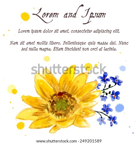 The composition of yellow sunflower painted in watercolor for your design - stock vector