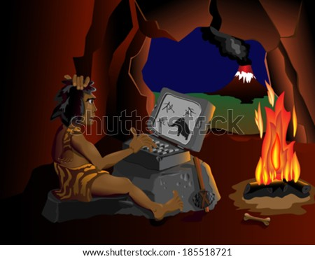 The computer even know cavemen sitting around the fire The wild man is sitting in a cave near the fire and running on your computer. On different layers. ax, fire, mammoth, cave, man, stone, - stock vector