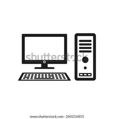 The computer icon. PC symbol. Flat Vector illustration - stock vector