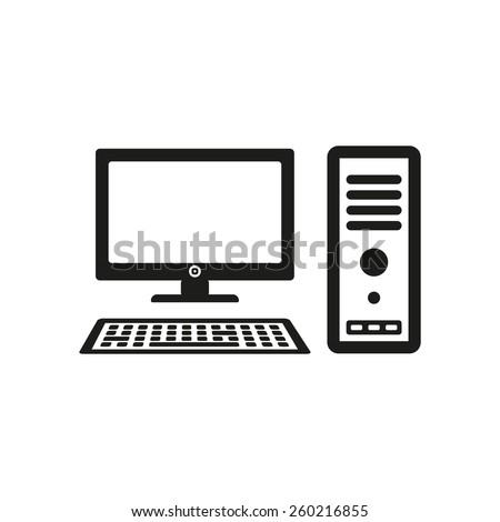 The computer icon. PC symbol. Flat Vector illustration - stock vector