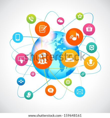 The concept communication in the global network. Colorful social media icons around the earth. The file is saved in the version AI10 EPS. This image contains transparency. - stock vector