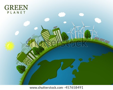 The concept of a green planet. The city in green tones on the globe. Vector illustration.