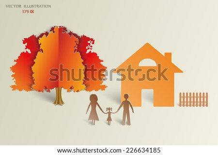 The concept of a happy family. Paper shadows happy family on the background of the house and the orange tree. Vector illustration - stock vector