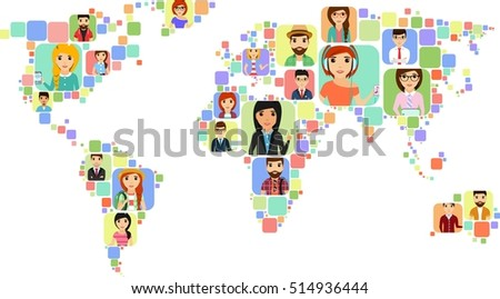 Concept world map icons various people stock photo photo vector the concept of a world map with icons of various people happy people gumiabroncs Images