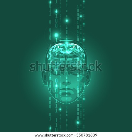 The Concept of Active Human Brain with Binary Code Stream. Vector Illustration. - stock vector