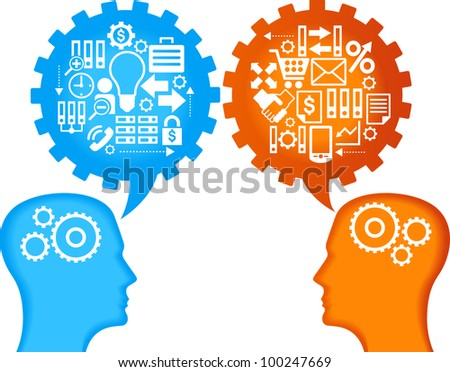 the concept of business relations between people. the silhouettes of the human head, speech bubbles in the form of gears and business icons - stock vector