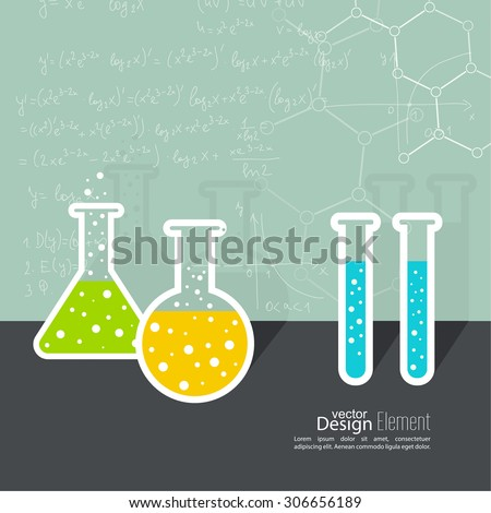 The concept of chemical science research lab retorts, beakers, flasks and other equipment. Biological and scientific tests. discovery new technologies. molecule of formula. minimal.  flat shadow - stock vector