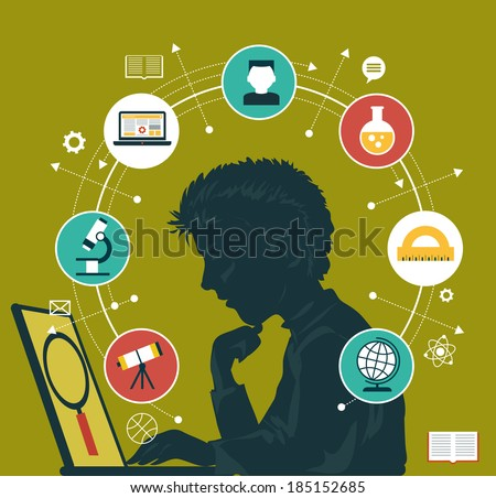 The concept of choosing a future profession. Icons education. Silhouette of a boy with a laptop surrounded by icons of education. - stock vector