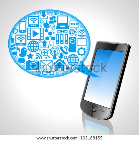the concept of cloud technology phone technology and Icons. File is saved in AI10 EPS version. This illustration contains a transparency - stock vector