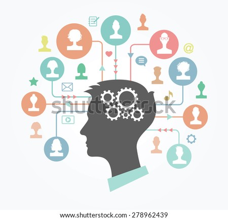 The concept of communication. Silhouette of a head of a young man surrounded by avatars, icons, arrows and circles - stock vector