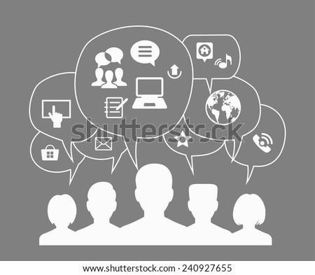 The concept of communications of people in the global network. A number of avatars of people with speech bubbles and interface icons - stock vector
