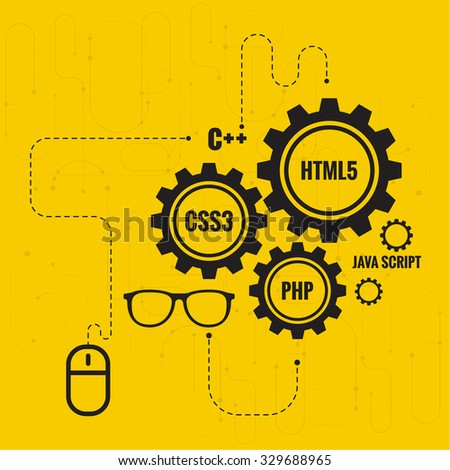 The concept of creating Web project using programming languages, search engine optimization, promotion. Gears with lines and dots, computer mouse and glasses Developer. - stock vector