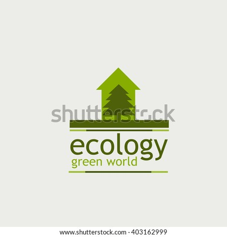 the concept of ecology green world. logo. tree and home the inscription on the white background. - stock vector