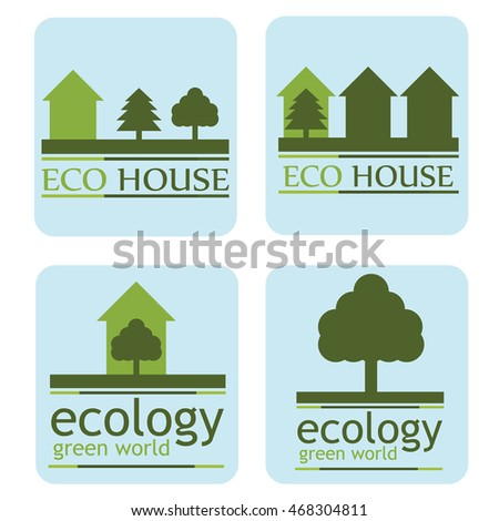 the concept of ecology green world. set of logos.