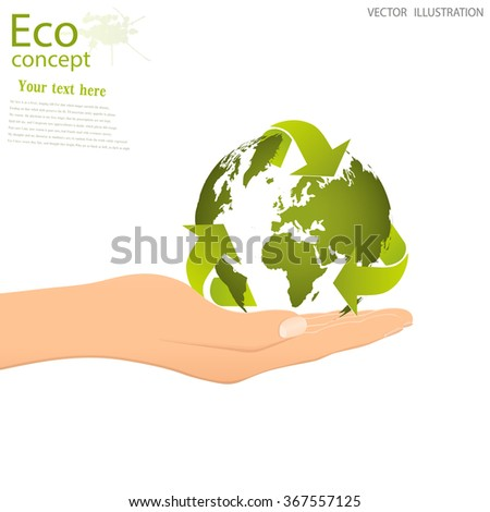 The concept of ecology, save the planet. The globe of the triangular recycling symbol on the open palm. Vector illustration modern design template.