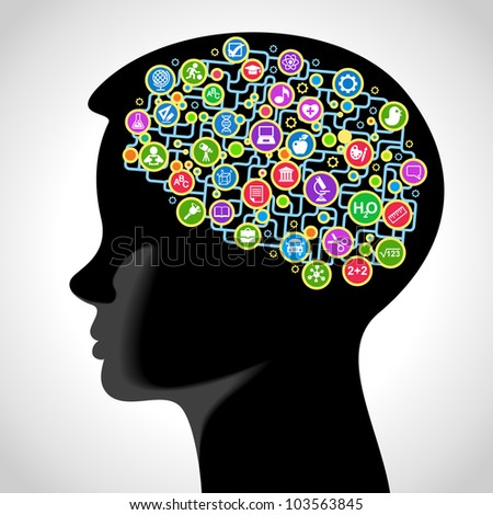 the concept of education of children. the generation of knowledge - stock vector
