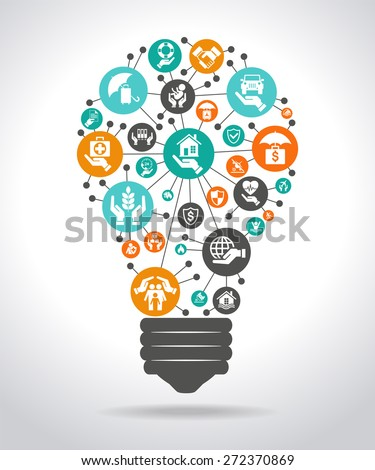 The concept of effective insurance . Light bulb with colorful insurance icon. File is saved in AI10 EPS version. This illustration contains a transparency  - stock vector